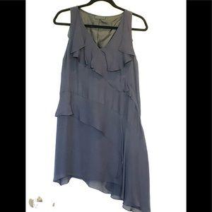 Richard Chai Love Ruffled Blue Biased Cut Dress, 8